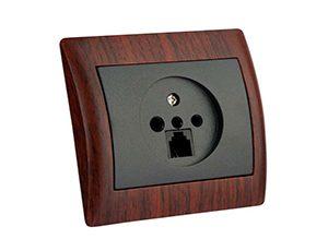 سوکت تلفن دوکاره دلند مدل آریا - طرح چوب ماهاگونی